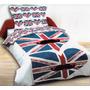 Capa Edredom Solteiro London Mustache Bandeira Inglesa-2pças