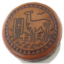Conjunto 3 Porta-joias Redondo Feito De Couro De Lhama B1584