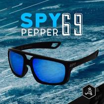 Óculos De Sol Spy Original Mod Pepper 69 Preto - Lente Azul