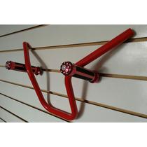 Guidão Aluminio Vermelho + Manopla Vermelha Moto Titan