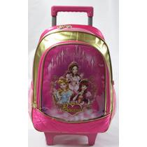 Mochila Escolar Infantil Rodinha Médio Princesas