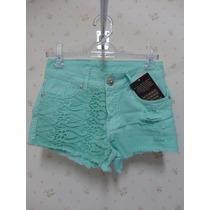Shorts Jeans Feminino Cores Com Detalhes Em Renda