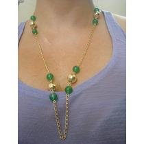 Cordao Com Pedras Verdes Folheado A Ouro