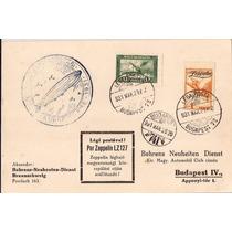 Zeppelin-hungria-postal Circulado Com Selo E Carimbo-1931