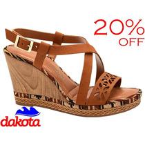 20%off Sandália Anabela Dakota Laser Couro Castanho Z0452