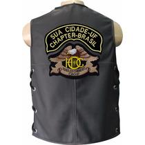 Colete De Couro Personalizado Com Bordado Harley Davidson