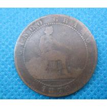 Moeda Antiga Da Espanha 5 Centimos 1870 Bronze Rara