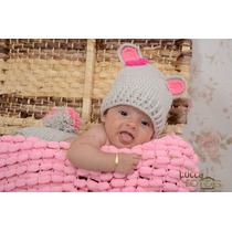 Manta Tricô Pompom Newborn Stúdio Fotográfico - 2 Mantas