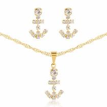Colar Feminino Em Ouro 18k Com Ancora Em Pedras De Cristal