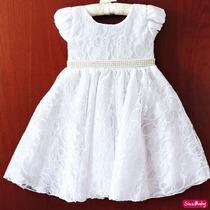 Vestido Daminha Florista Batizado Branco Infantil Com Tiara