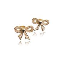 Brinco Laço De Diamantes. Ouro 18k Presente Ideal.