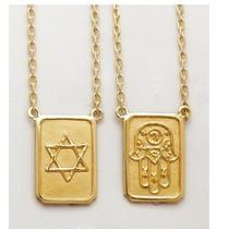 Escapulário Judaico Médio Ouro 18k Corrente Reforçada