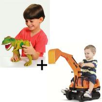Dinossauro Grande Com Som Tirano Rex + Escavadeira Giant
