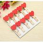 Kit - 10 Mini Prendedores Com Coração Vermelho