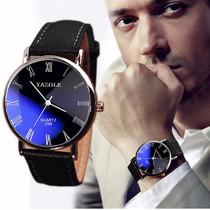 Relógio Importado Yazole Japones De Couro Masculino Barato