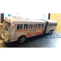 Miniatura De Ônibus Articulado 28 Cm Rodas Giram