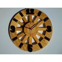Relógio De Parede Cozinha/sala Em Madeira