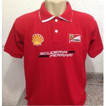 Camisa Polo Importada Ferrari Gola Dupla - Modelo2015