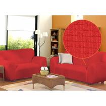 Kit Capa De Sofá Vermelha 2 E 3 Lugares Em Malha Canelada