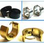 Brincos Argolas 6mm Aço Inox:2 Pretos,2 Prateados,2 Dourados