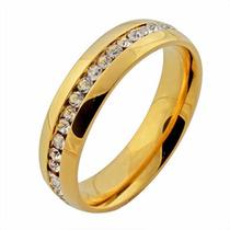 Anel Aliança Titânio Banhando Ouro 18k Zircônia - Perfeito