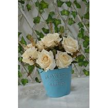 Kit 10 Vasos Azul C/ Flores Artificiais - Pronto P/ Enfeitar