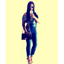 Macacão Fashion Feminino Jeans Estilo Pitbull Elastano