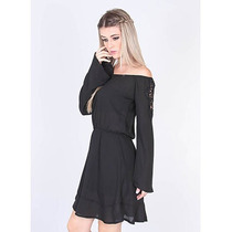 Vestido Ciganinha Feminino Lara - Preto