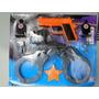 Fantasia Policial Bombeiro Pistola Alvos Algema Distintivo