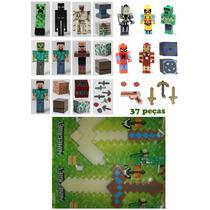 Kit Minecraft Bonecos + Espada E Picareta Minecraft Led Som