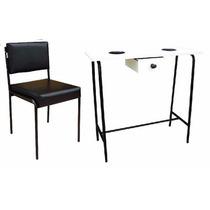 Mesa Para Manicure Desmontável E Cadeira Lara