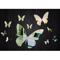 Escultura De Parede Espelhada Borboletas Decoração Para Casa
