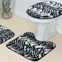 Jogo Tapete De Banheiro Safari 3 Peças Pelúcia Zebra