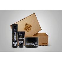 Kit Timberman Cabelo Shampoo, Pasta E Gel + Caixa Madeira