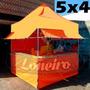 Lona 300 América Laranja E Branca Para Barraca De Feira 5x4