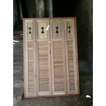 Janela De Madeira De Demolição Com Veneziana 1,60x1,35