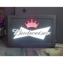 Placa Luminoso Budweiser Bar 34cm X 24cm Frete Grátis