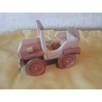 Carro De Madeira Miniatura Jipe - Produto Artesanal