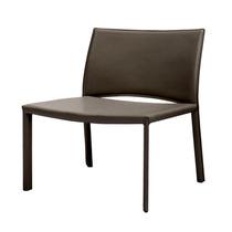 Cadeira Baixa Sofia Revestida Couro Ecológico Café