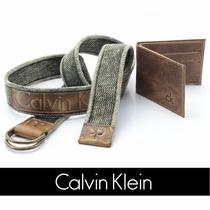 Kit Cinto Lona Masculino+carteira Calvin Klein Ck Original