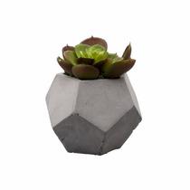 Vaso De Cimento Com Cactos De Plástico 10cm Lyor 3607