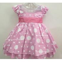 Vestido Infantil Festa Minnie Rosae Peppa Com Tiara
