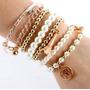 Pulseira Feminina Perolas Conjunto Com 6 Bracelete Dourado