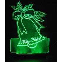 Enfeite Em Acrilico Iluminado Com Led - Sino De Natal