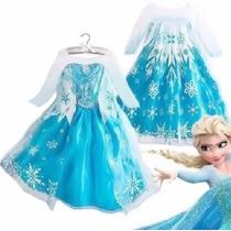 Vestido Fantasia Infantil Criança Filme Frozen Fever Elsa