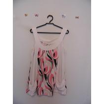 Blusa Feminina Branca Estampada Malha Cód. 406