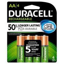 4 Pilhas Recarregaveis Duracell 1,2v Aa 2500 Mah Long Life