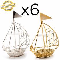 6 Barcos Metal Decoração Lembrancinha Aniversário Barquinho