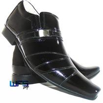 Sapato Social Masculino Envernizado Preto Brilho Forro Couro