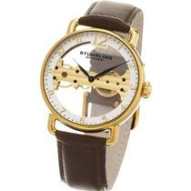 Relógio Stuhrling Original Couro Marrom Corda Importado Novo